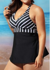 wholesale Plus Open Back Stripe Print Black Swimdress
