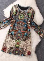 wholesale Printed Long Sleeve Round Neck Mini Dress