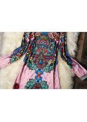 wholesale Long Sleeve Round Neck Printed Straight Dress