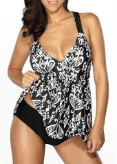 Patchwork Printed Open Back Tankini Set