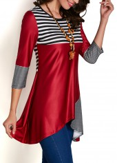 wholesale Three Quarter Sleeve Striped Patchwork Asymmetric Blouse
