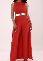 Solid Red Overlay Embellished Sleeveless Jumpsuit