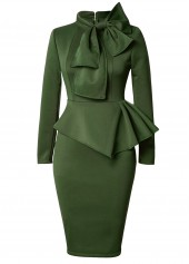 Army Green Bowknot Embellished Peplum Waist Dress
