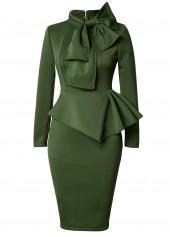 Army Green Bowknot Embellished Peplum Waist Dress