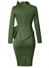 wholesale Army Green Bowknot Embellished Peplum Waist Dress