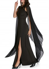 Solid Black Cape Sleeve Front Slit Maxi Dress