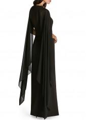 wholesale Solid Black Cape Sleeve Front Slit Maxi Dress