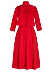 wholesale Red Bowknot Embellished Three Quarter Sleeve Dress
