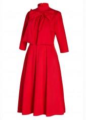 wholesale Red Bowknot Embellished Three Quarter Sleeve Dress