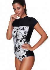 wholesale Quarter Zip Flower Print Short Sleeve Swimwear