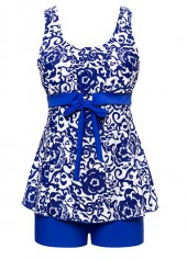 Bowknot Embellished Printed Top and Royal Blue Shorts