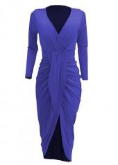 V Neck Long Sleeve Asymmetric Hem Ruched Dress