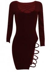 Wine Red Long Sleeve Cutout Sheath Club Dress