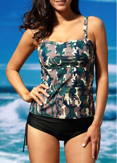 Camouflage Print Top and Black Panty Swimwear