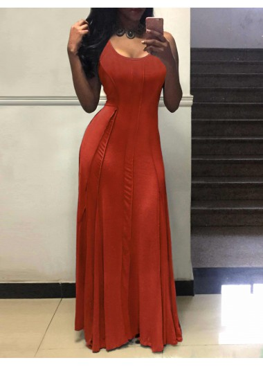 Sleeveless Round Neck Tank Maxi Dress