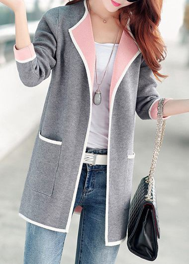 Open Front Long Sleeve Pocket Design Cardigan