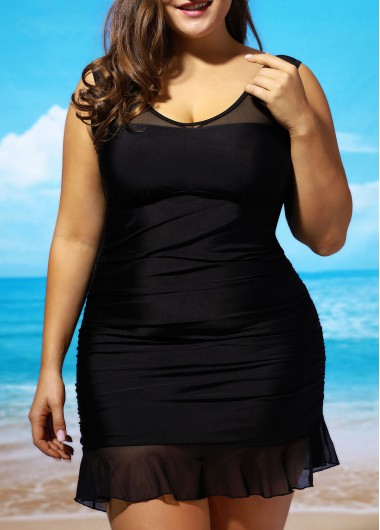 Plus Size Padded Lace Panel Swimdress and Panty