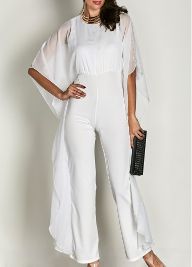 Round Neck High Waist Butterfly Sleeve White Jumpsuit