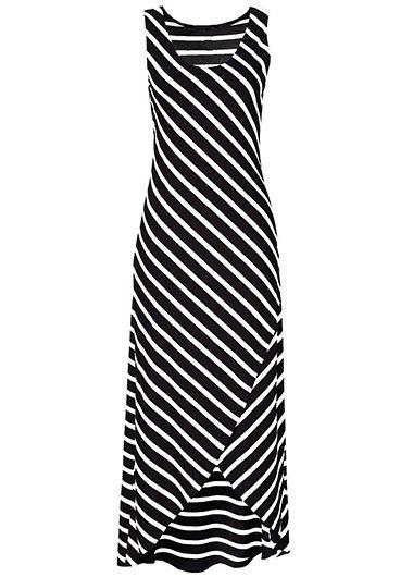 Asymmetric Hem Sleeveless Striped Black Maxi Dress