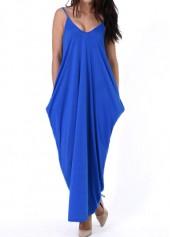 Open Back Pocket Decorated Royal Blue Dress