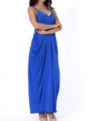 wholesale Open Back Pocket Decorated Royal Blue Dress