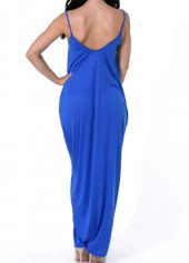 wholesale Open Back Pocket Decorated Royal Blue Dress