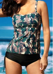 wholesale Camouflage Print Top and Black Panty Swimwear