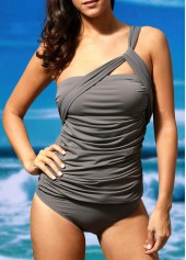 One Shoulder Ruched Top and Grey Panty