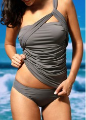 wholesale One Shoulder Ruched Top and Grey Panty