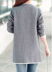 3eb9fe98bf wholesale Open Front Long Sleeve Pocket Design Cardigan