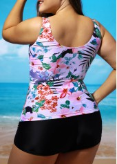 wholesale Plus Open Back Flower Print Top and Black Shorts