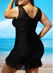 wholesale Plus Size Padded Lace Panel Swimdress and Panty