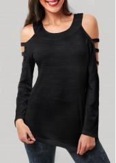 Cutout Sleeve Black Round Neck T Shirt