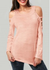 Round Neck Pink Long Sleeve T Shirt