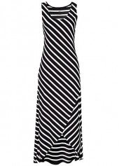 Asymmetric Hem Sleeveless Striped Black Maxi Dress