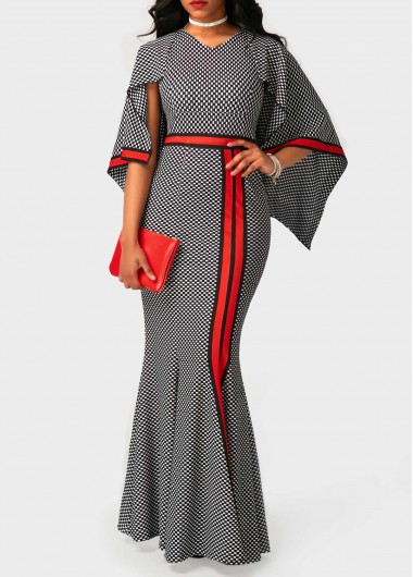 High Waist V Neck Printed Maxi Dress