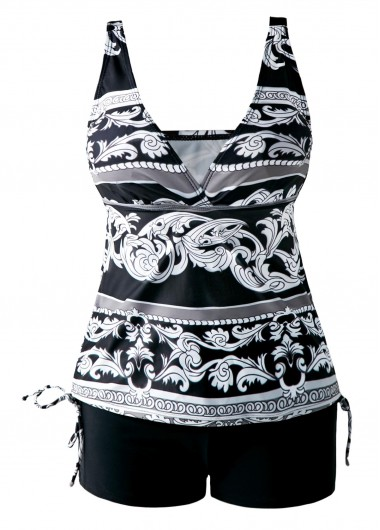 V Neck Open Back Drawstring Side Printed Tankini