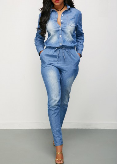 Long Sleeve Button Up Drawstring Waist Denim Jumpsuit