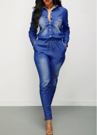 Turndown Collar Button Up Drawstring Waist Denim Jumpsuit