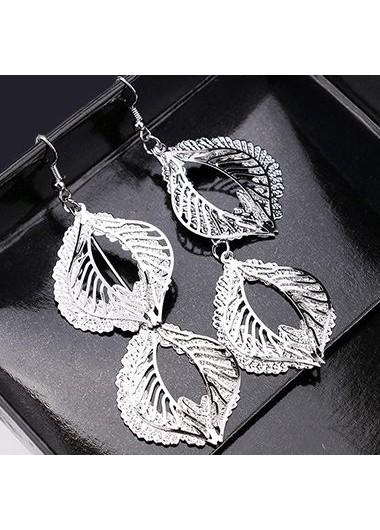 Leaf Shape Pendant Silver Metal Earrings