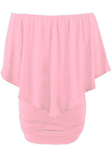 Ruffle Overlay Boat Neck Pink Mini Dress
