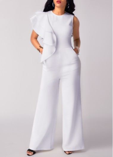 Flouncing Round Neck Sleeveless Pocket White Jumpsuit