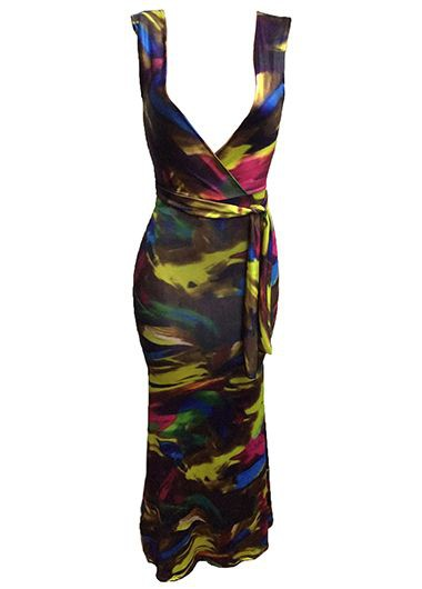 Sleeveless Belted Plunging Neck Printed Maxi Dress