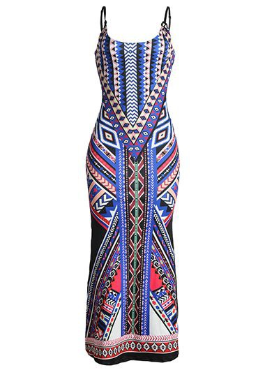Open Back Spaghetti Strap Double Slit Printed Maxi Dress