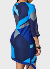 wholesale Printed Round Neck Navy Blue Tie Side Dress