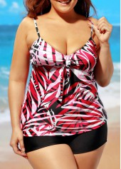 wholesale Plus V Neck Spaghetti Strap Printed Tankini