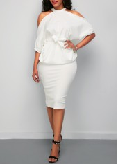 Cold Shoulder White Top and Back Slit Skirt
