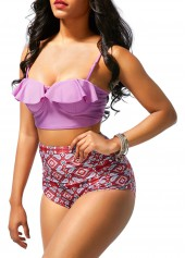 wholesale Printed High Waist Strappy Two Piece Swimwear
