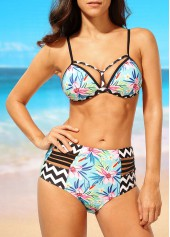 High Waist Open Back Printed Two Piece Swimwear
