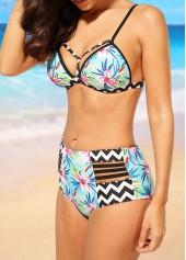 wholesale High Waist Open Back Printed Two Piece Swimwear